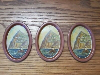 vintage set of 3 advertising PRUDENTIAL INSURANCE TIP TRAY strength of gibralter