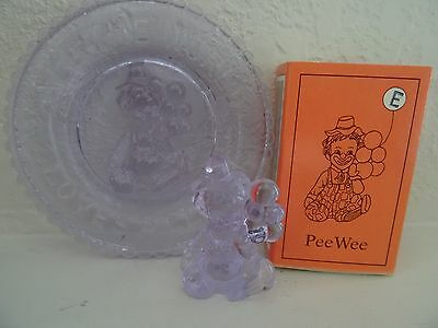 """E"" MOSSER GLASS PEE WEE Clown & All the World Loves a Clown Plate ALEXANDRITE"