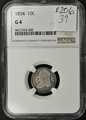 1834 Bust Dime.  In NGC Holder.  G 4.  e-206