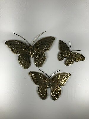 Set Of 3 Vintage Brass Butterflies Handmade In India Small Medium Large Cast