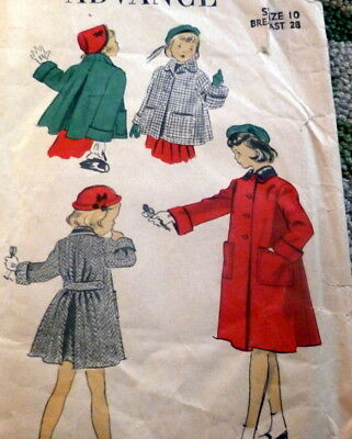 LOVELY VTG 1950S GIRLS COAT ADVANCE Sewing Pattern 4 - $6.99 | PicClick