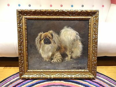 Fine Large Early 20th Century Pekingese Dog Portrait Antique Oil Painting BERRIE