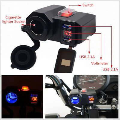 DC12V Waterproof Motorcycles Handldbar 2USB Port Adapter Blue LED With Voltmeter