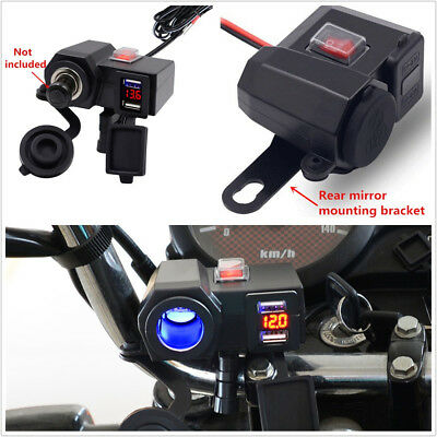 12V Blue LED Motorcycles Dual USB Power Port Charger Digital Voltmeter Universal