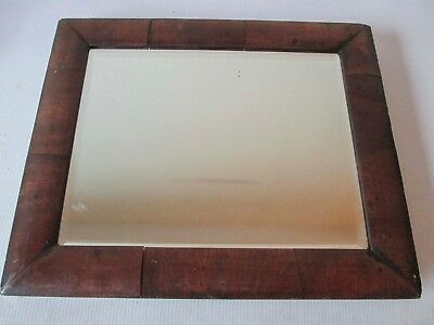 Antique Wood Veneer Bevelled Edge Small Mirror 12 X 10 Inches