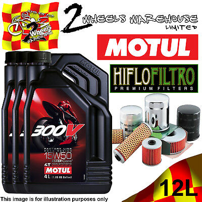 12L Motul 300V 15W50 Oil And Hiflo Hf128 Filter Fits Kawasaki Quad Sxs Listed