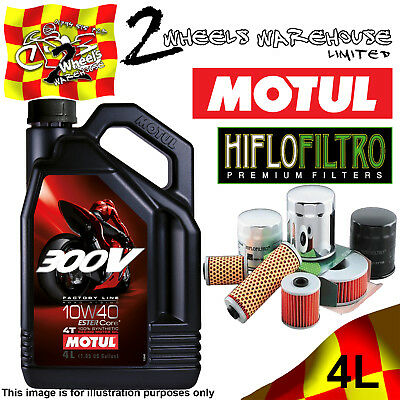 4L Motul 300V 10W40 Oil And Hiflo Hf128 Filter Fits Kawasaki Quad Sxs Atv Listed