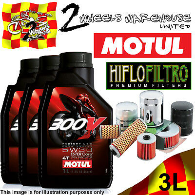 3L Motul 300V 5W30 Oil And Hiflo Hf128 Filter Fits Kawasaki Quad Sxs Atv Listed