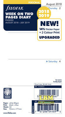 Filofax 2018 - 2019 Personal size Diary - Week On Two Pages Academic Refill