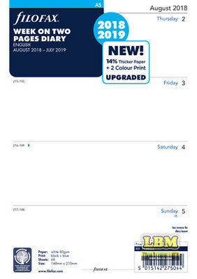 Filofax 2018 - 2019 A5 size Academic Diary - Week On Two Pages Refill 68562