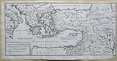 1717 Ancient Greece Turkey Cyprus Palestine Israel Syria Genuine Antique Map