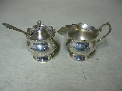 Collectible E.p.n.s. Silver Plated Etched Sugar Bowl And Cream Pitcher