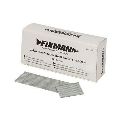 Fixman 724126 Galvanised Smooth Shank Nails 32mm x 1.25mm 18G 5000pk