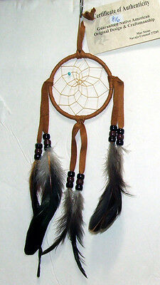 """Authentic Native American Dreamcatcher Light Brown 3"""" hoop FREE SHIPPING #816"""