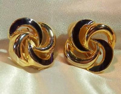 Cly Vintage 80 S Eternity Black Enamel Gold Tone Padded Clip Earrings 103f8