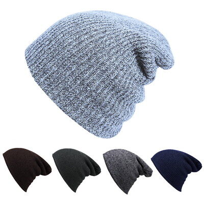 Warm Men Women  Skull Knit Baggy  Ski Slouchy Knitted Cap Hat One Size