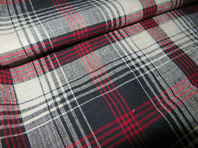 """Unused Cottage Checked Pillowcase Sham  Handwoven Linen  30 """" by 29 """""""