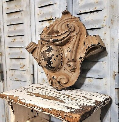 Shabby Painted Hand Carved Wood Pediment Antique French Architectural Salvage