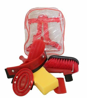 Horse Grooming Kit Set 8 Pieces Barn Stable Supply Brushes Hoof Pick Sponge Red