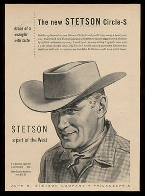 1957 Stetson cowboy hat Circle-S 'is part of the West' vintage print ad