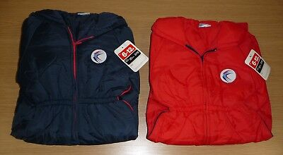 2 x VINTAGE 70's UNUSED KID'S PADDED PRAM SNOWSUIT AGE 6-12 MONTHS BLUE & RED