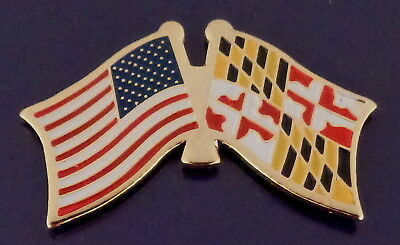 Maryland State Flag & US Untied States Flags Crossed Lapel Pin USA MD