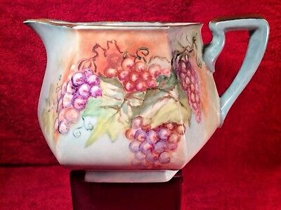Antique Vintage Hand Painted French Limoges Pitcher Gold, Grapes Leaves, L280