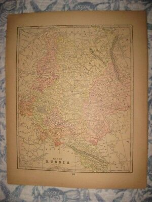 Superb Antique 1892 German Empire Germany Prussia Russia Moscow Map Railroad Nr
