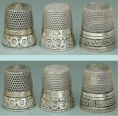 3 Antique American Sterling Silver Thimbles by Simons Bros * Circa 1900-1930s