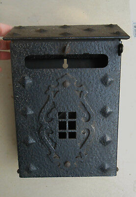 Old Metal Wall Mount Mailbox or Letter Box w. Newspaper Holder Hammered Texture