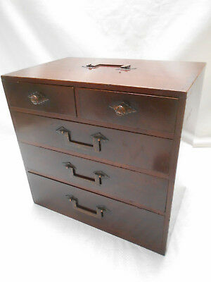 Antique Keyaki and Kiri Wood Sewing Box Japanese Drawers C1890s #736