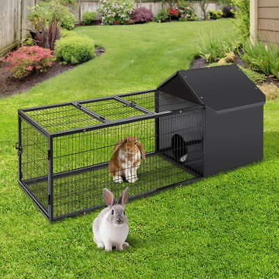 Large Metal Rabbit Hutch Guinea Pig Chinchillas House Cage Run Pen Run Animal AU