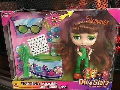 Mattel Diva Starz Doll Interactive NIP Summer Red Hair Green Eyes Poseable 6""