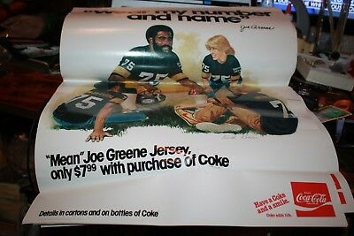 "Mean Joe Greene Pittsburgh Steelers Coca-cola Poster ""Wear My Number"" 1980"