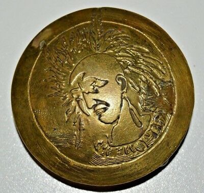 Aged Vintage 1970s Round INDIAN Chief Solid Brass Biker Belt Buckle Ultra Rare