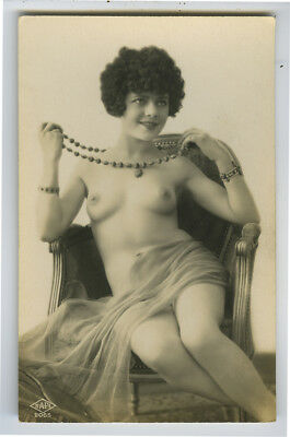 1920s French Nude CUTE FLAPPER w/ BEADS Jewelry risque photo postcard