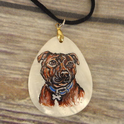 Pit Bull Terrier Necklace Hand Painted Folk Art Dog Breed Jewelry Pet PitBull