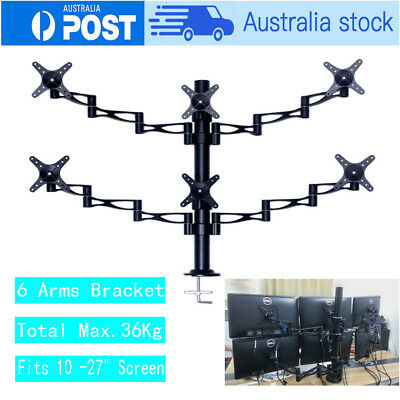"10-27"" Tilt Swivel 6 Arm LCD Screen Monitor Stand Bracket TV Computer Display AU"