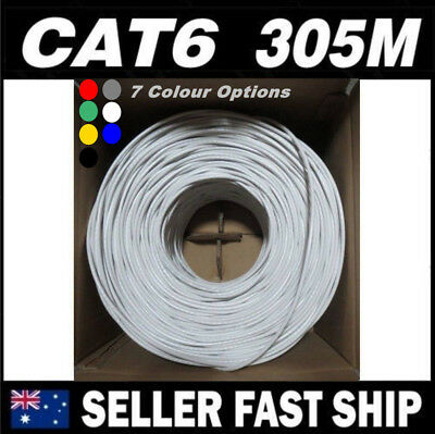 305m Cat 6 CAT6 Solid Ethernet Network Home Cable Boxed Multi Colour Free Ship