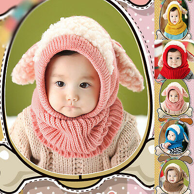 Baby Toddler Winter Beanie Warm Hat Hooded Scarf Knitted Cap Boys Girls AU