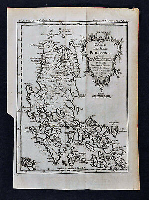 1752 Bellin Map - Isles Philippines - Islands Luzon Cape Boxcador New Castille
