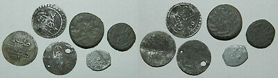 6 VERY OLD ISLAMIC COINS  - Includes Silver  11-16mm