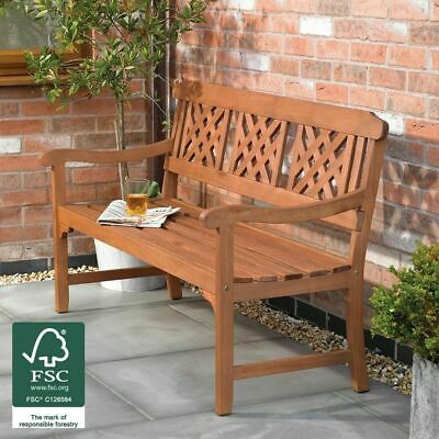 Outdoor 3 Seater Fench Garden Bench Diagonal Slotted Back Design Furniture Wido