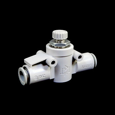 AS3201F-02-12SD, Pack of 2 SMC Electroless Nickel-Plated Brass and PBT Elbow Flow Control Valve with 12mm Tube Size