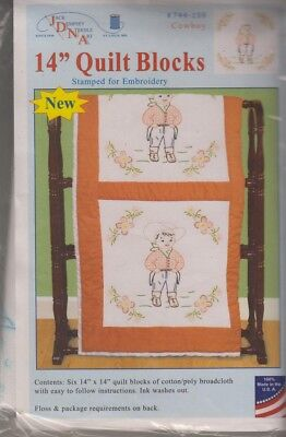 """1 Pk Jack Dempsey Cowboy 14""""  Stamped Embroidery Quilt Blocks"""