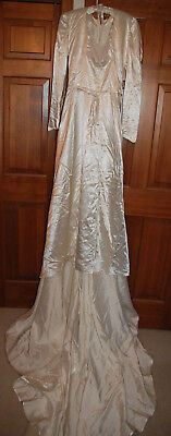 Vintage 1940s Handmade Cream Satin and Lace Wedding Dress & Train