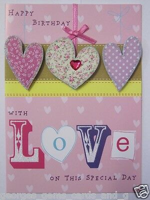 Wonderful Colourful Raised Hearts Love On This Special Birthday Greeting Card