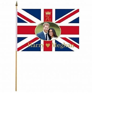"""1, 6 or 12 Pack of Royal Wedding Harry and Meghan Hand Waving Flags 12"""" x 18"""""""