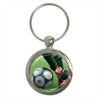 Soccer Ball and Player Football Sports Key Chain Stainless Steel Round