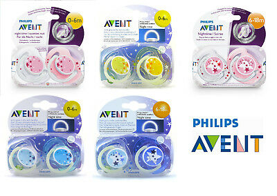 Baby Soother Dummy Nipple 0-6m / 6-18m Pacifier Philips Avent Night Time New